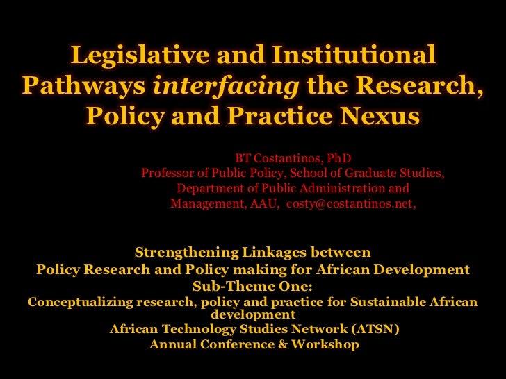 Legislative and institutional trajectories for interfacing the RPP nexus