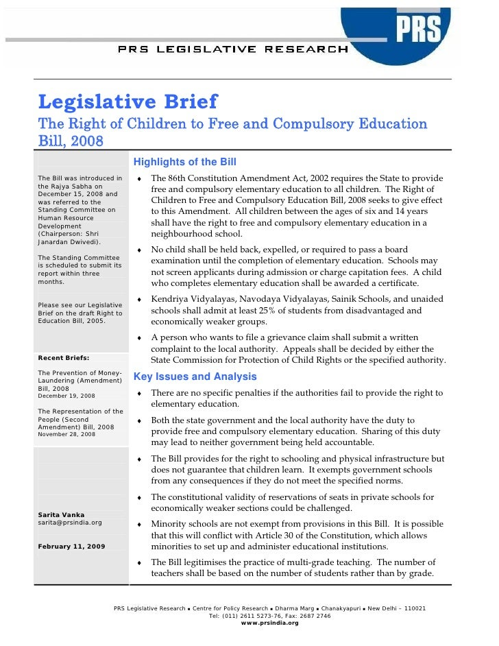 Legislative Brief The Right of Children to Free and Compulsory Education Bill, 2008                               Highligh...