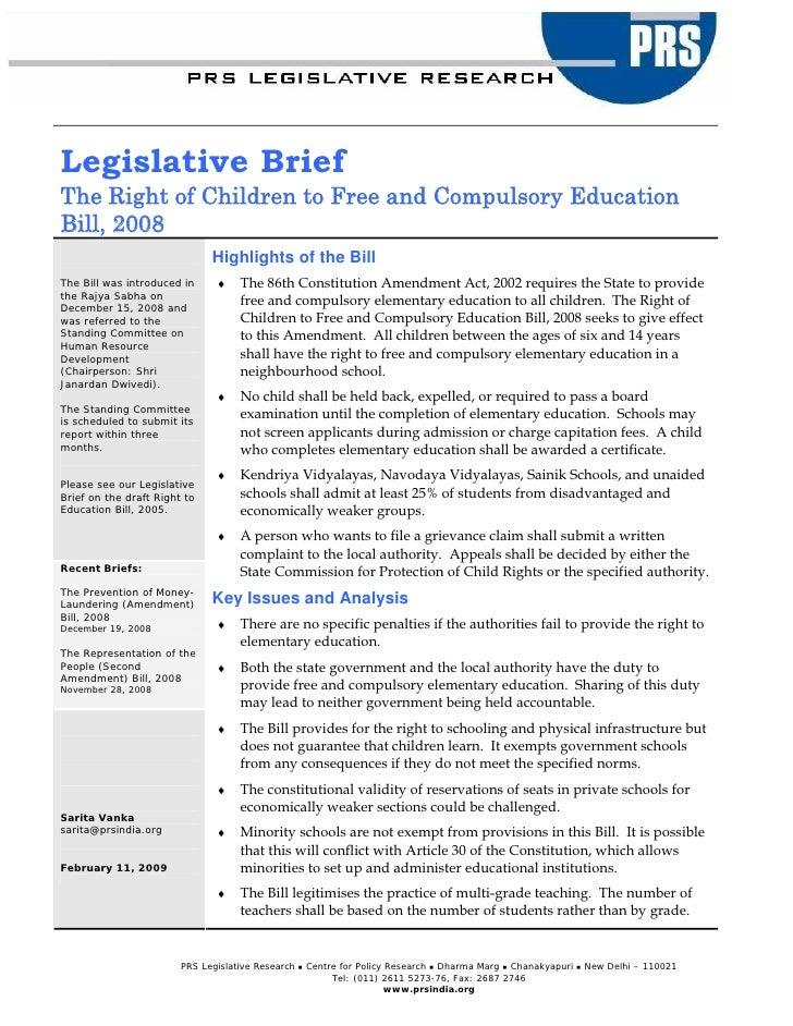 Legislative Brief  The Right To Education Bill 2008