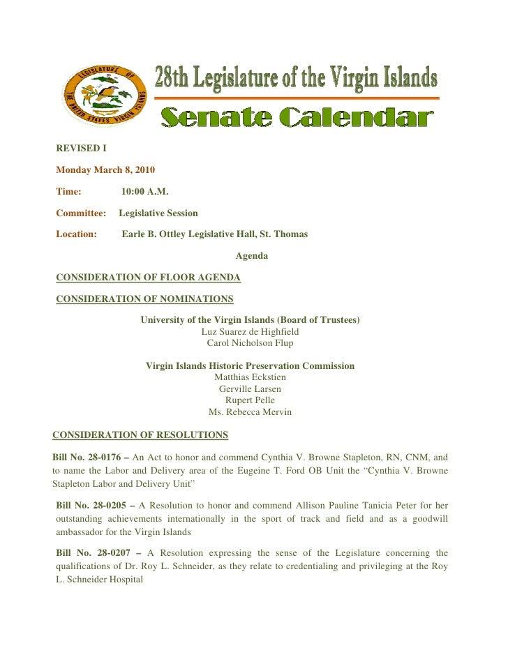 Legislative Calendar Weekending 031210