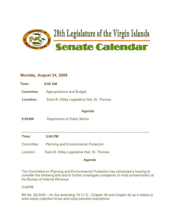 Legislative Calendar Weekending 082809