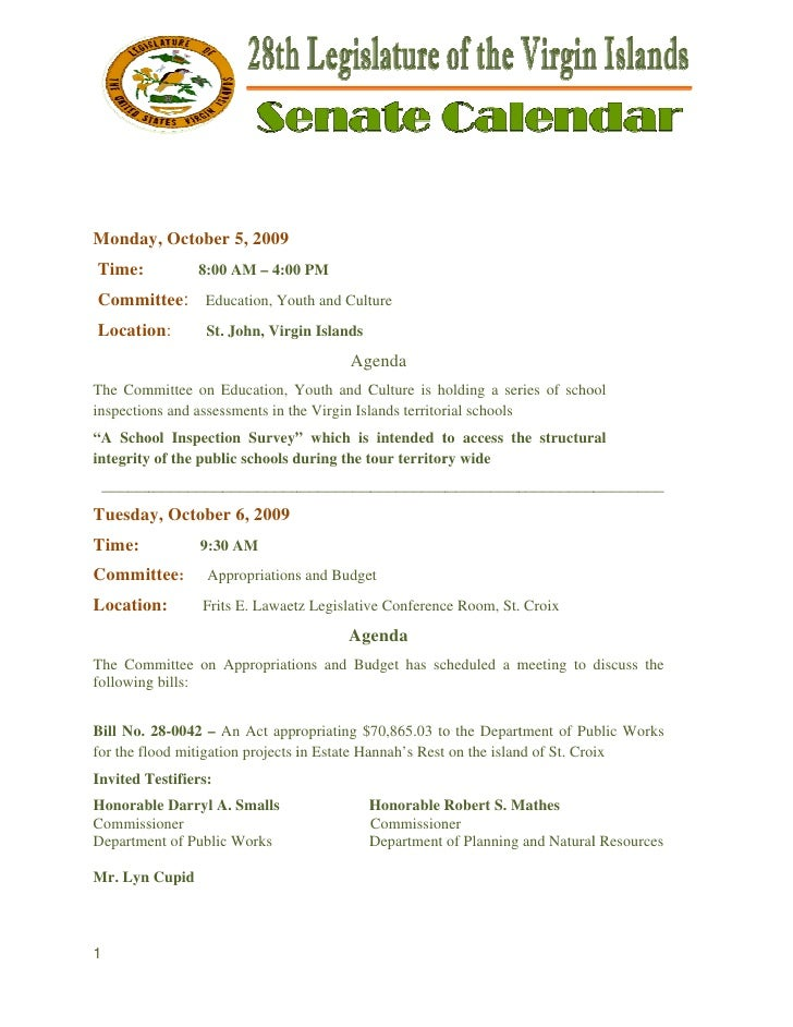 Legislative Calendar Weekending 100909