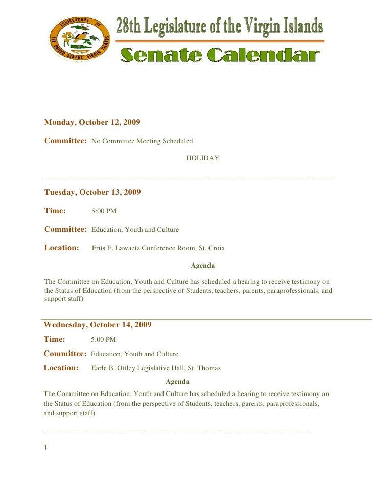 Monda Octobe 12, 2009    ay,    er       9Commi    ittee: No Committee M              C         Meeting Scheduled        ...