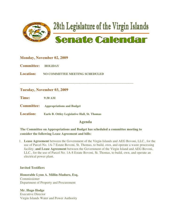 Legislative Calendar Weekending 111309