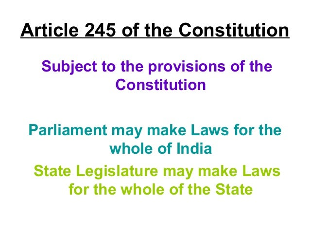 residuary power art 248 State of rajasthan v g chawla, air 1959 sc 544 245 iv) colourable exercise of legislative power 50 kc gajapati narayan deo v state of orissa air 1953 sc 375 248 d) residuary power of legislation (article 248) 51 union of india v h s dhillon, air 1972 sc 1061 262 e) parliament's power to legislate in list.