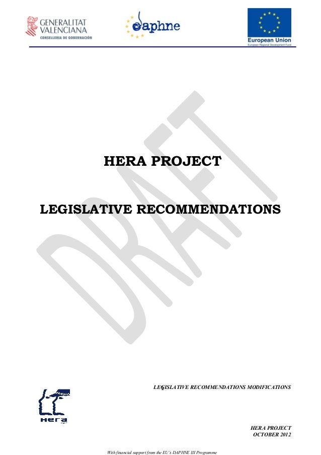 HERA PROJECTLEGISLATIVE RECOMMENDATIONS                                 1                               LEGISLATIVE RECOMM...