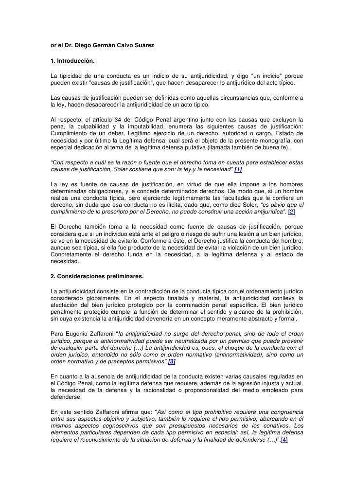 or el Dr. Diego Germán Calvo Suárez1. Introducción.La tipicidad de una conducta es un indicio de su antijuridicidad, y dig...