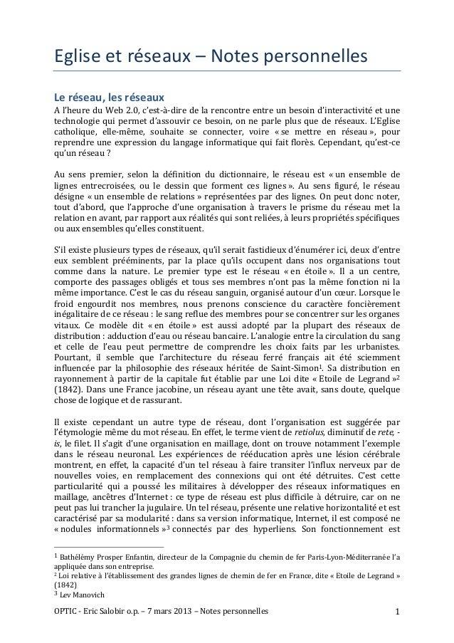 Eglise et réseaux – Notes personnelles Le réseau, les réseaux A l'heure du Web 2.0, c'est-...