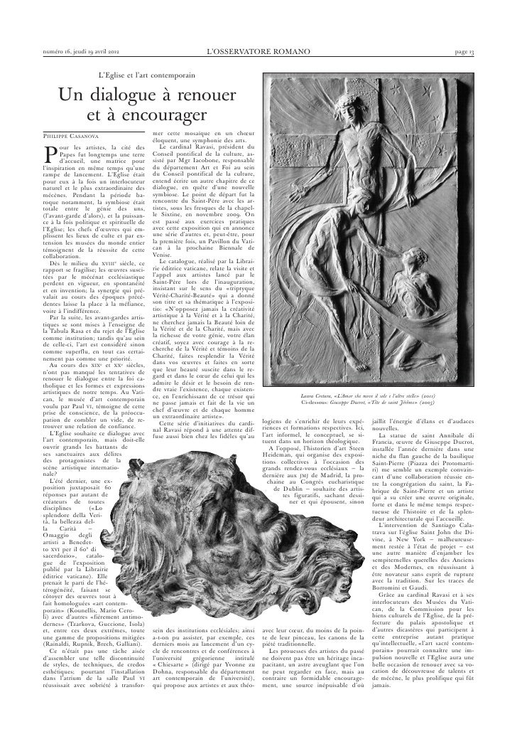 Eglise et Art contemporain dans Osservatore Romano par Philippe Casanova