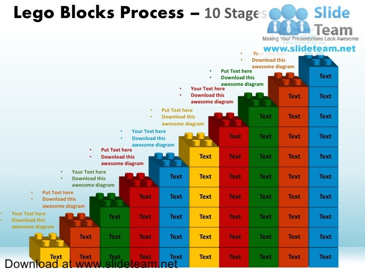 Lego blocks and pieces stacked on top of one another  process 10 stages style 1 powerpoint presentation slides and ppt templates