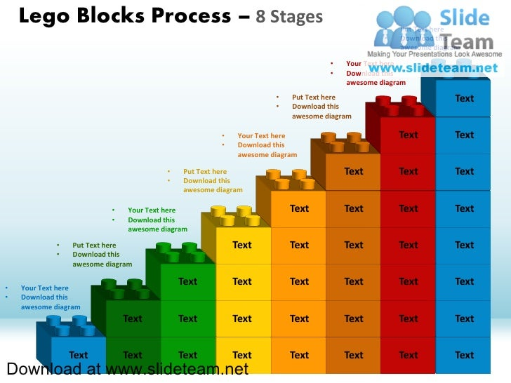 Lego blocks and pieces stacked on top of one another  process 8 stages style 1 powerpoint diagrams and powerpoint templates