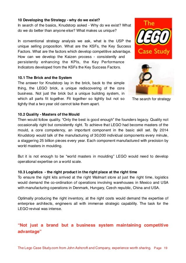 lego strategic analysis Lego company profile - swot analysis: lego group saw its first revenue decline in over a decade in the first half of 2017 due in large part to the us.