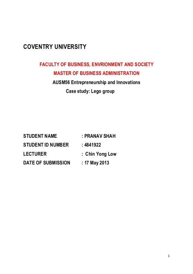 1 COVENTRY UNIVERSITY FACULTY OF BUSINESS, ENVRIONMENT AND SOCIETY MASTER OF BUSINESS ADMINISTRATION AUSM56 Entrepreneursh...