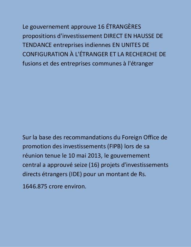 Le gouvernement approuve 16 ÉTRANGÈRESpropositions dinvestissement DIRECT EN HAUSSE DETENDANCE entreprises indiennes EN UN...