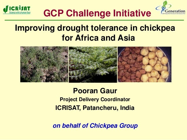 Improving drought tolerance in chickpeafor Africa and AsiaPooran GaurProject Delivery CoordinatorICRISAT, Patancheru, Indi...