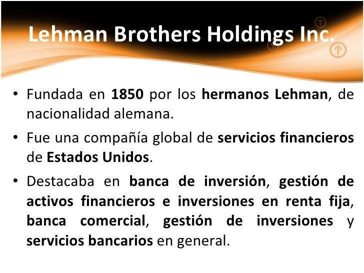Lehman Brothers Background Lehman Brothers Holdings Inc