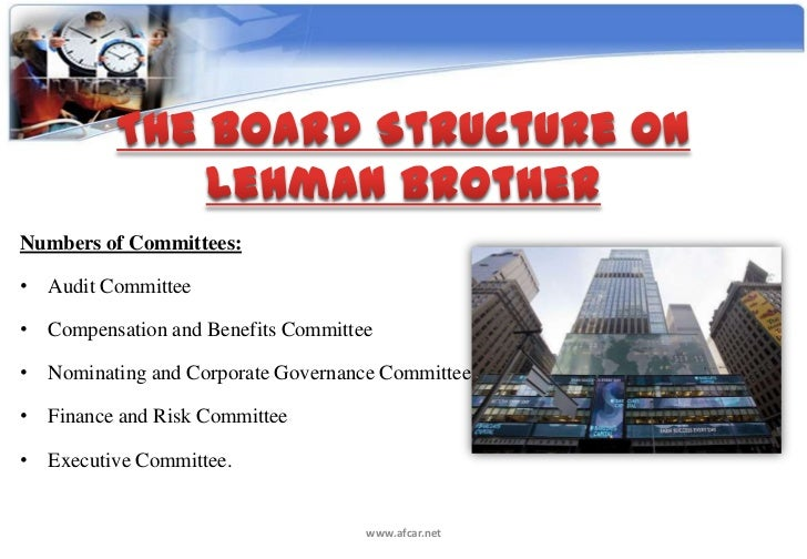 lehman brothers case study audit The agency problem of lehman brothers' board of directors lehman brothers is often cited as an example of yale program on financial stability case study.