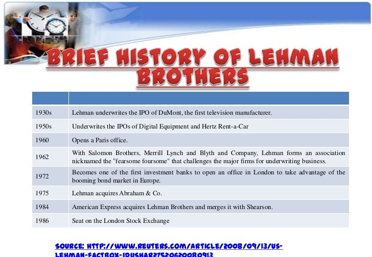 case study for shearson lehman brothers vs wasatch bank essay Lehman brothers survived many financial crises in its long history until it was driven into bankruptcy lehman was the fourth-largest us investment bank at the time of its collapse, with 25,000 the history of lehman brothers lehman brothers had humble origins, tracing its roots.