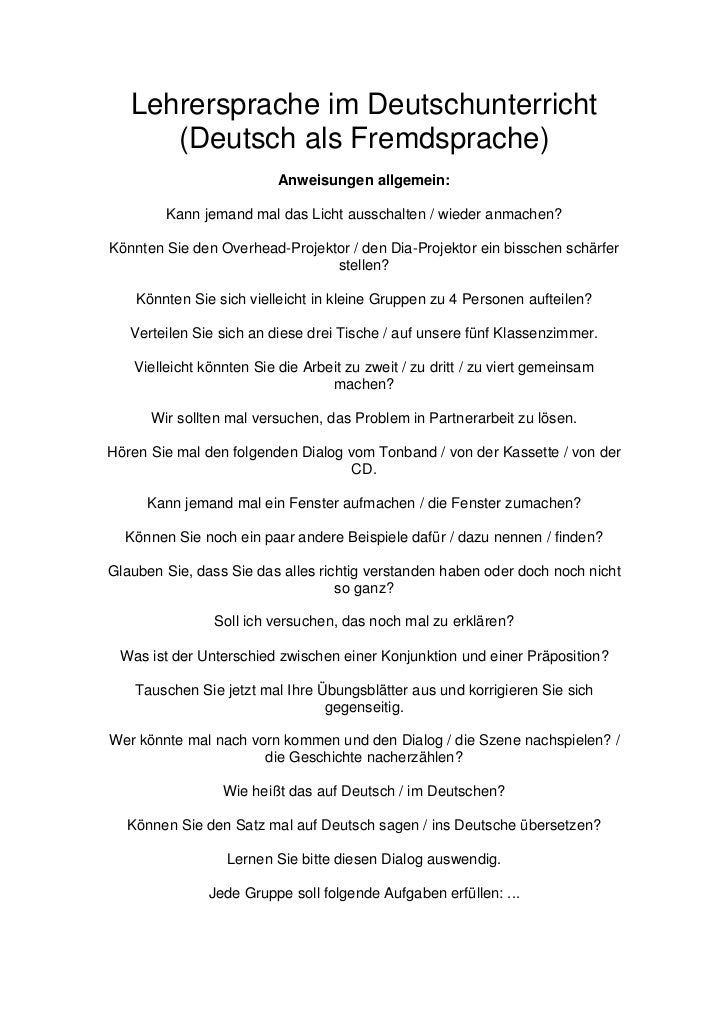 Lehrersprache im Deutschunterricht      (Deutsch als Fremdsprache)                          Anweisungen allgemein:        ...