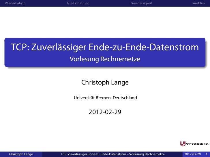 TCP – zuverlässiger Ende-zu-Ende-Datenstrom