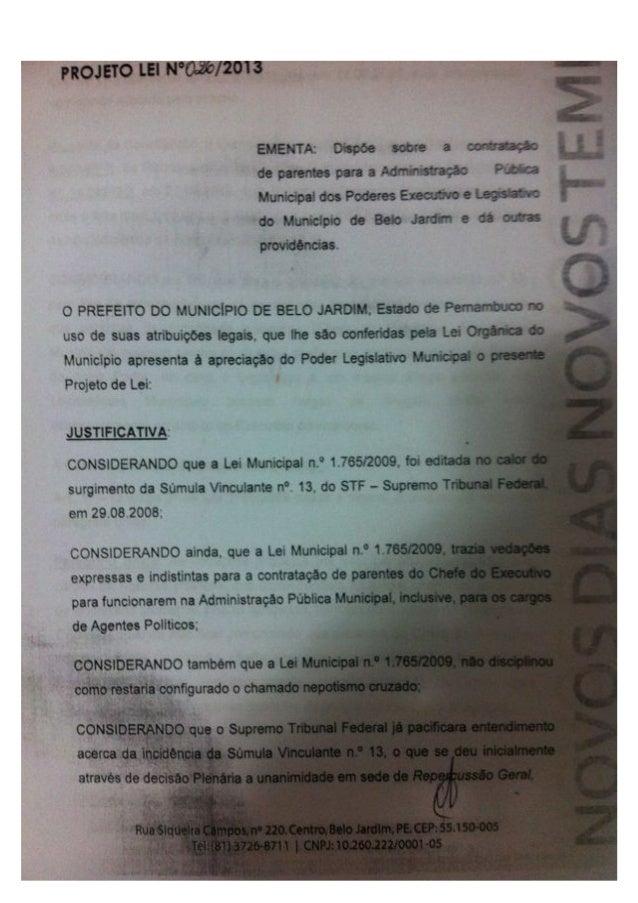 Lei de Nepotismo - Belo Jardim