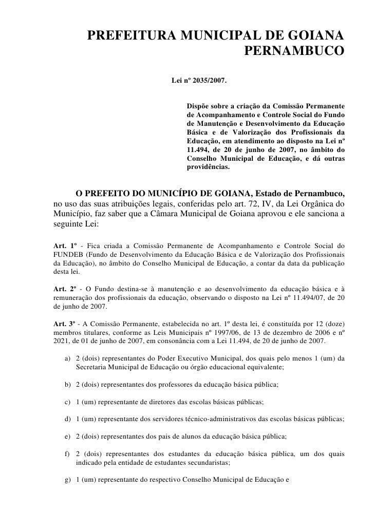 PREFEITURA MUNICIPAL DE GOIANA                              PERNAMBUCO                                       Lei nº 2035/2...
