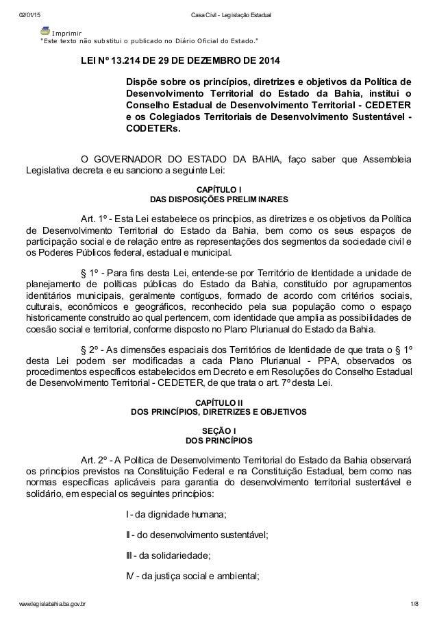 """02/01/15 Casa Civil - Legislação Estadual www.legislabahia.ba.gov.br 1/8 Imprimir """"Este texto não substitui o publicado no..."""