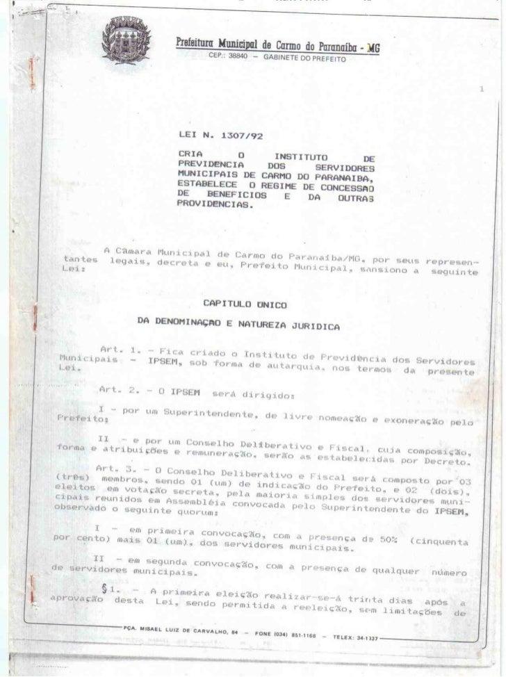 Lei de criação da autarquia Municipal IPSEM- Instituto e Previdência dos Servidores Municipais de Carmo do Paranaíba - MG