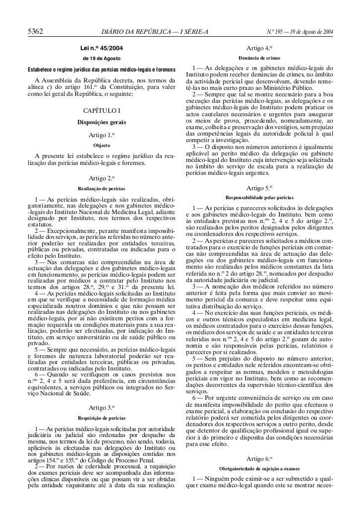 Lei 45 2004 de 19 de agosto