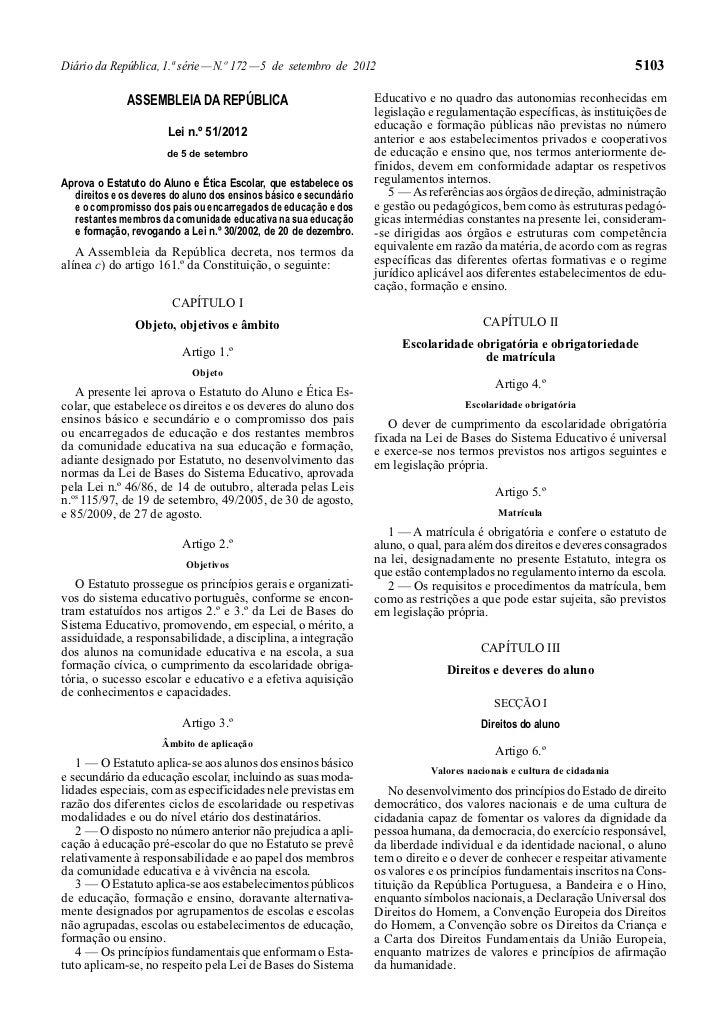Lei 51.2012, 5.set   estatuto-aluno_etica_escolar