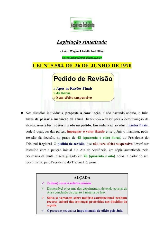 Legislação sintetizada (Autor: Wagson Lindolfo José Filho) www.magistradotrabalhista.com.br LEI Nº 5.584, DE 26 DE JUNHO D...
