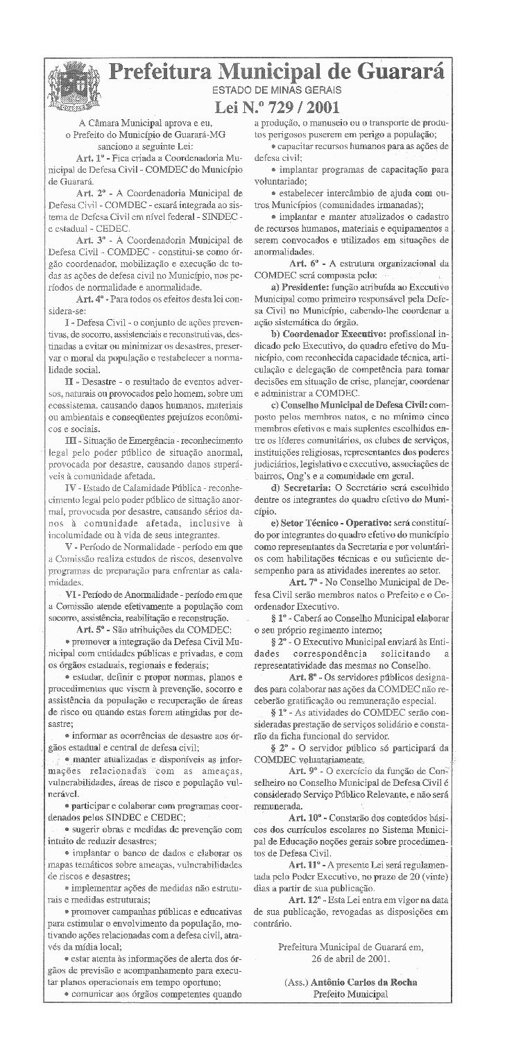 Lei 729 2001 que cria a comdec - defesa civil