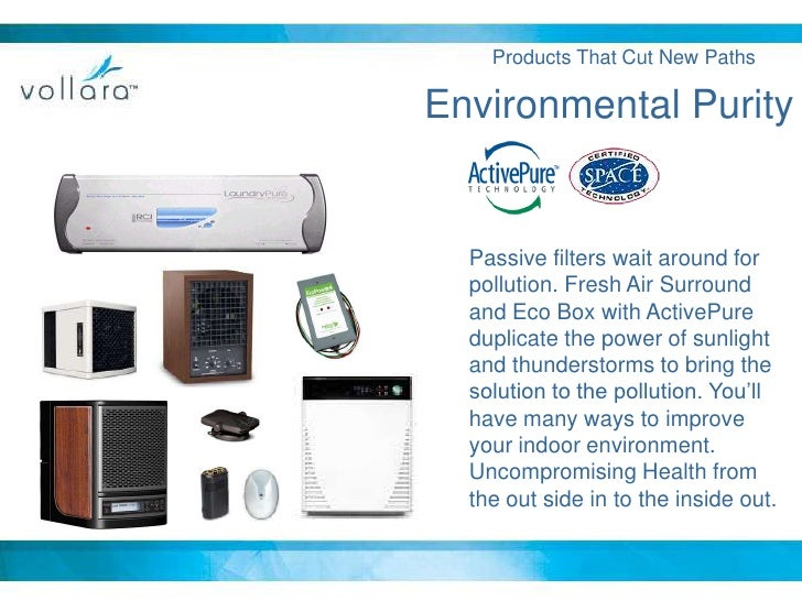 Products That Cut New Paths<br />Environmental Purity<br />Passive filters wait around for pollution. Fresh Air Surround a...
