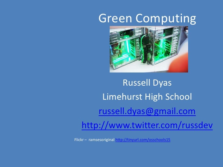 Green Computing - Leicester Schools Network