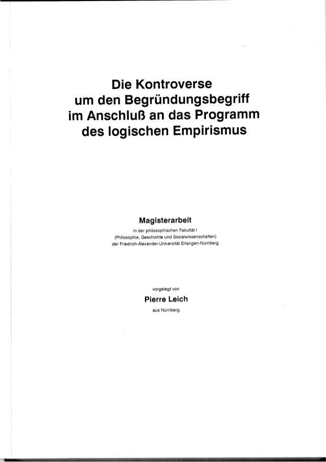 Die Kontroverse um den Begründungsbegriffim Anschluß an das Programm  des logischen Empirismus                   Mag ister...
