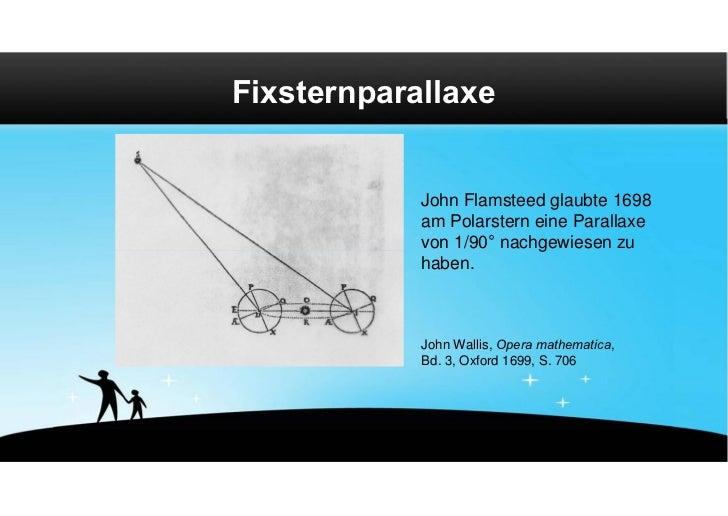Fixsternparallaxe            John Flamsteed glaubte 1698            am Polarstern eine Parallaxe            von 1/90° nach...