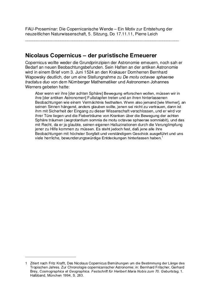 FAU-Proseminar: Die Copernicanische Wende – Ein Motiv zur Entstehung derneuzeitlichen Naturwissenschaft, 5. Sitzung, Do 17...