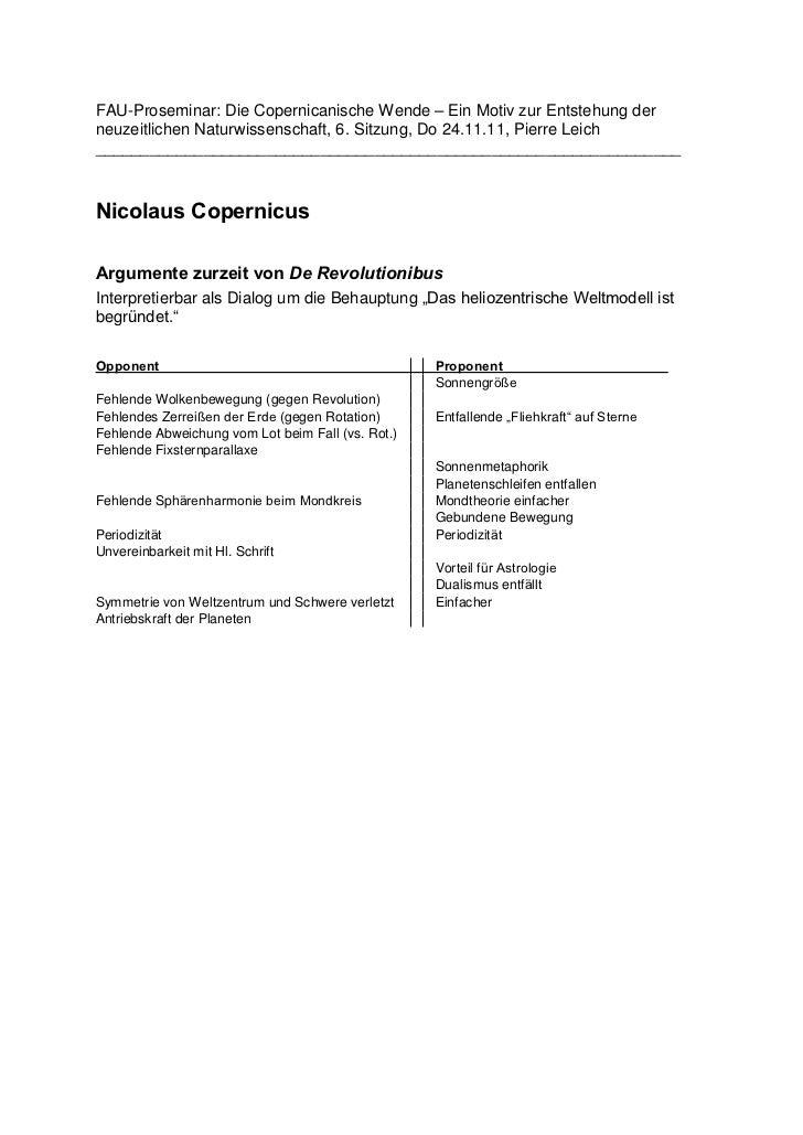 FAU-Proseminar: Die Copernicanische Wende – Ein Motiv zur Entstehung derneuzeitlichen Naturwissenschaft, 6. Sitzung, Do 24...