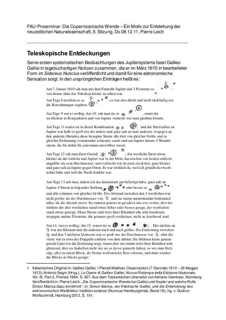 FAU-Proseminar: Die Copernicanische Wende – Ein Motiv zur Entstehung derneuzeitlichen Naturwissenschaft, 8. Sitzung, Do 08...