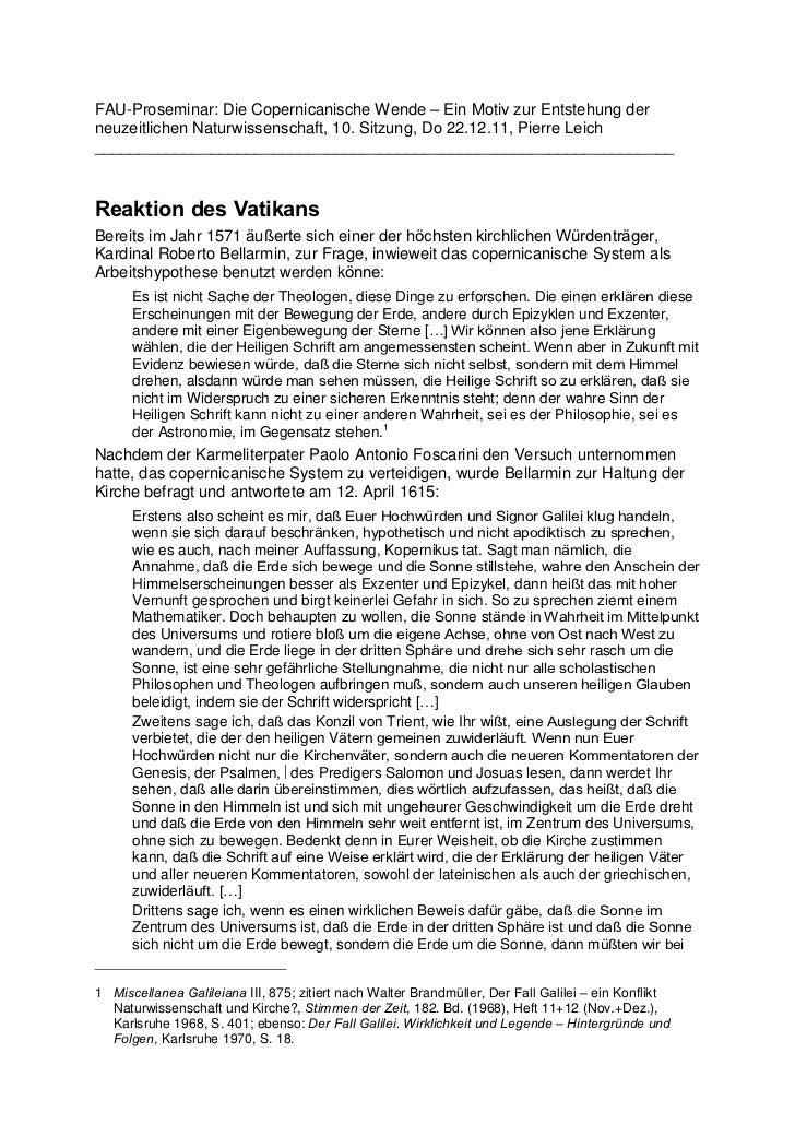 FAU-Proseminar: Die Copernicanische Wende – Ein Motiv zur Entstehung derneuzeitlichen Naturwissenschaft, 10. Sitzung, Do 2...