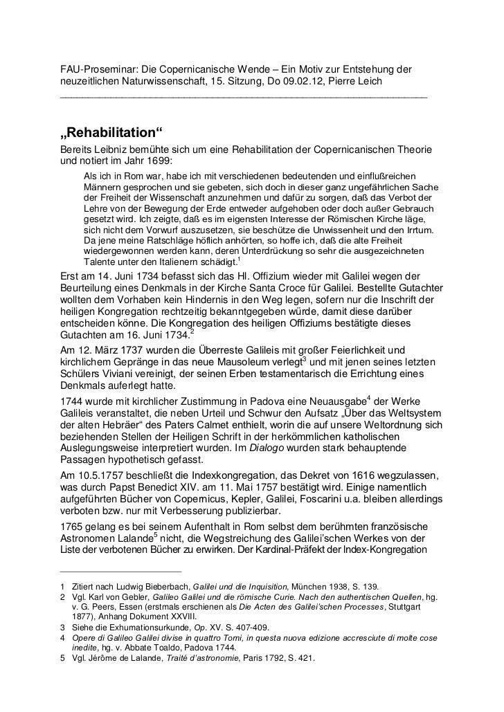 FAU-Proseminar: Die Copernicanische Wende – Ein Motiv zur Entstehung derneuzeitlichen Naturwissenschaft, 15. Sitzung, Do 0...