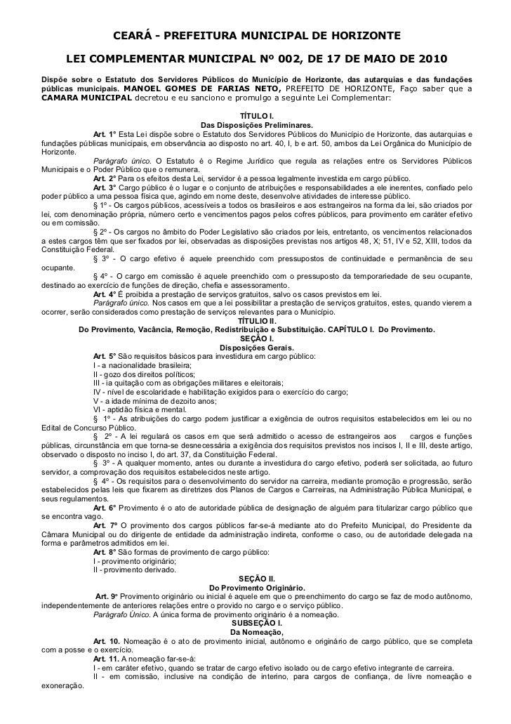 Lei complementar 002 2010 (complementa 079)