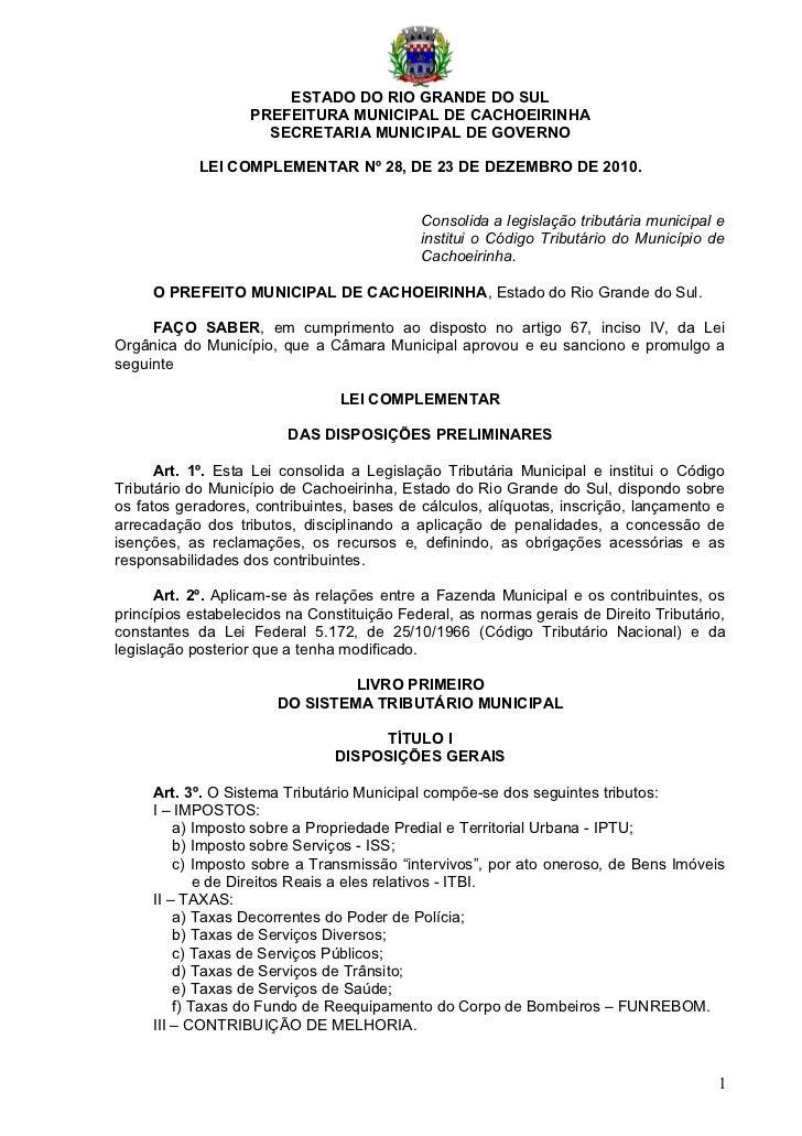 Lei complementar nº 28 2010  código tributário municipal de cachoeirinha