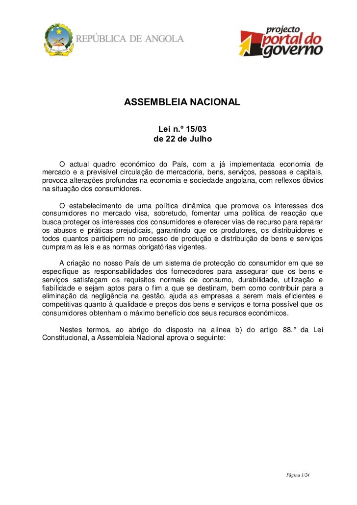 ASSEMBLEIA NACIONAL                                  Lei n.º 15/03                                 de 22 de Julho      O a...