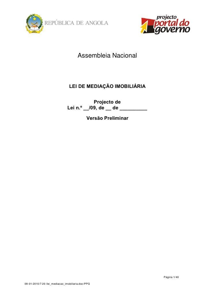 Assembleia Nacional                                 LEI DE MEDIAÇÃO IMOBILIÁRIA                                           ...