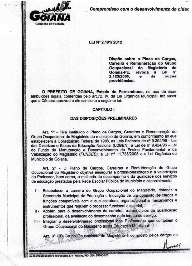 Lei nº. 2191 2012