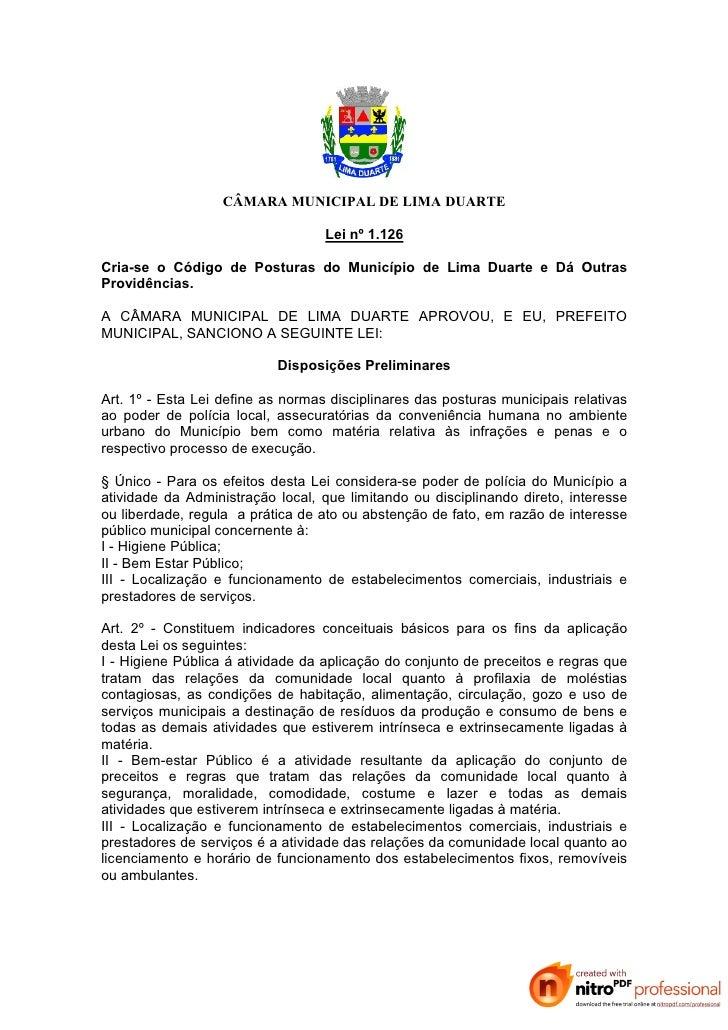 Lei nº 1.126 código de posturas