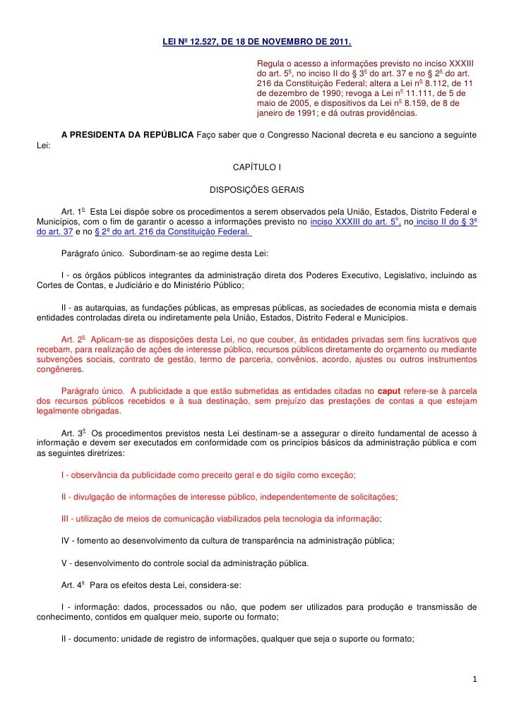 Lei nº 12527 com destaques
