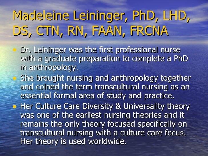 madeleine leininger theory of culture care diversity Leininger's theory of culture care diversity and universality  leininger's cultural care theory - duration: 6:36 jessica casali 3,018 views 6:36 madeleine leininger interview part 2.