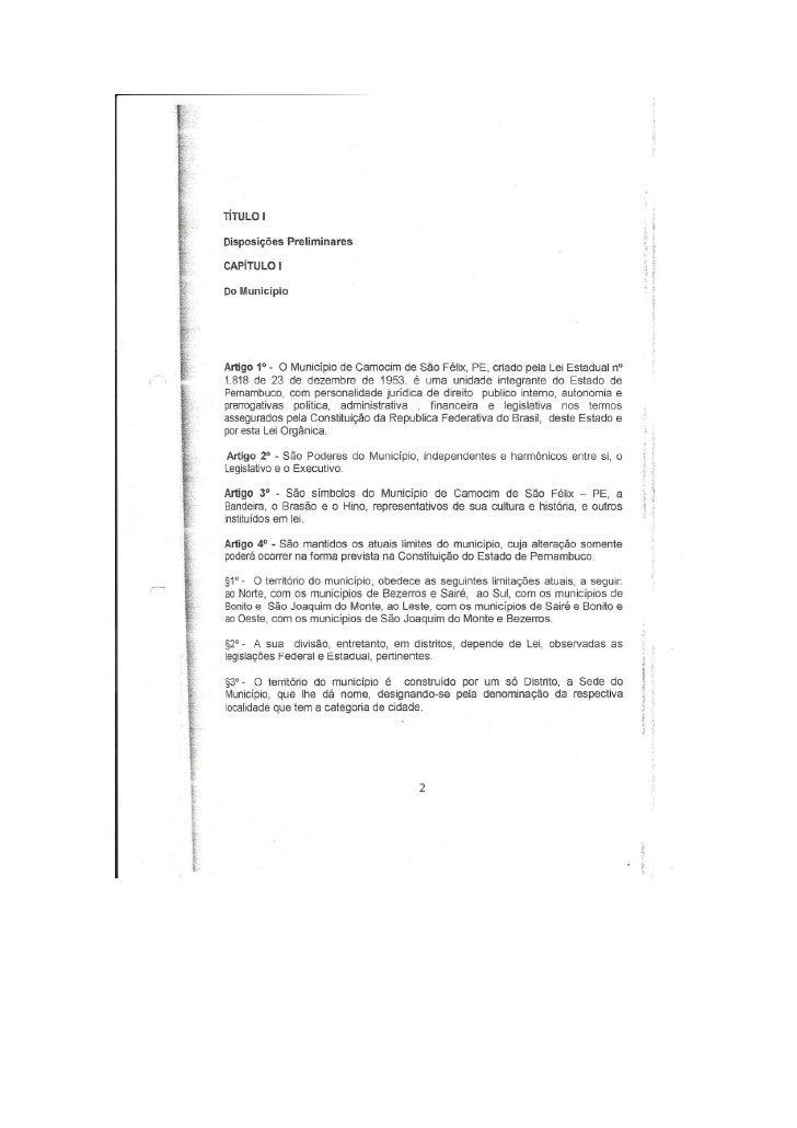 Lei orgânica do município de camocim de são félix
